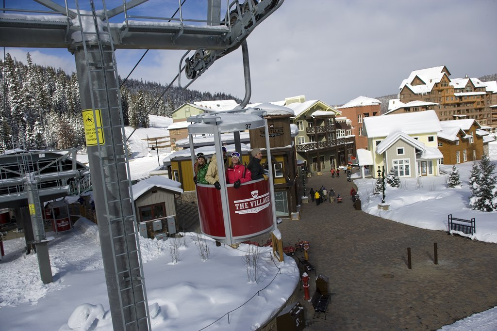 Winter Park seen from a gondola.