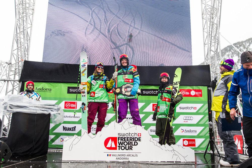 Víťazky v kategórii Lyže - ženy | Freeride World Tour Andorra 2016 - © freerideworldtour.com | J. Bernard