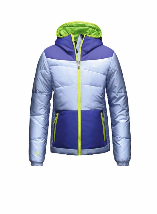 Kjus Girls Artic Down Jacket: $299 The Artic comes in a variety of stylish colorways and ensures a toasty core with a high-quality blend of down and synthetic insulation. Other notable features include an attached hood, elastic hems on sleeves and waterproof fabric on the hood and shoulders.