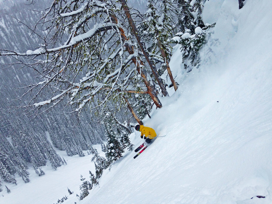 A skier gettin' buck wild at Kicking Horse.  - © Lane Clark