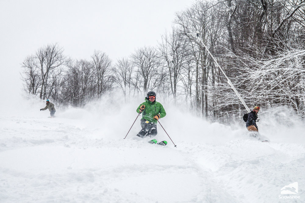 3 feet of new snow means there's plenty to go around at Snowshoe. - © Kurtis Schachner/ Snowshoe Mountain Resort