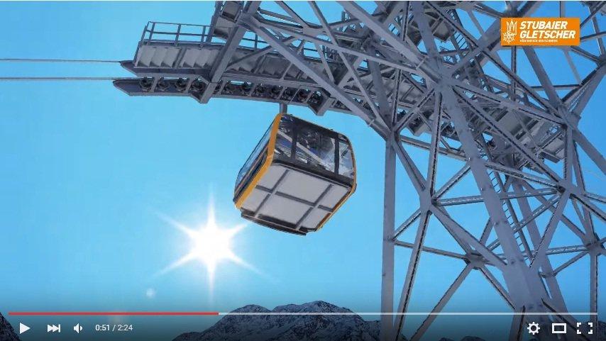 Na lodowcu Stubai powstaje nowoczesna trójlinowa kolej, która ruszy w październiku 2016 - wizualizacja - © Stubaier Gletscher