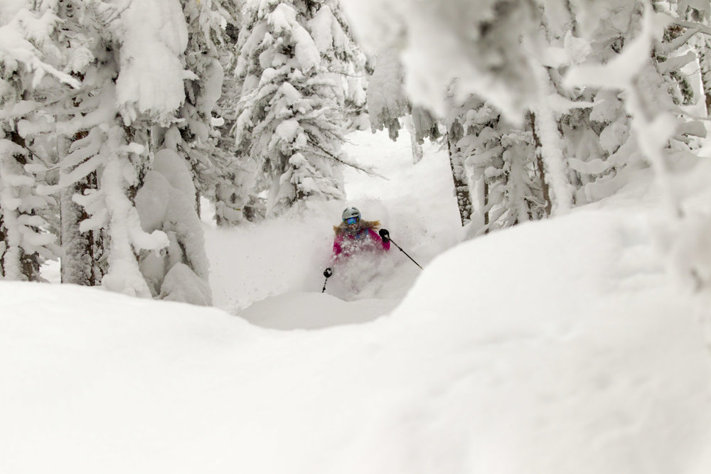 Sinking into the powder at Grand Targhee Resort. - © Grand Targhee Resort