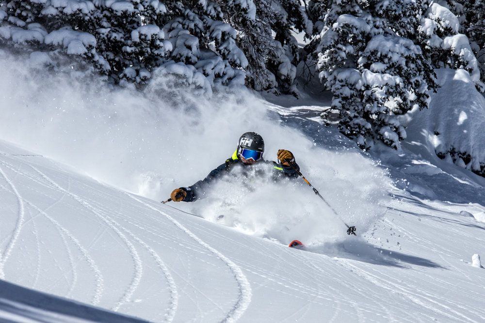 Skier, Mike Maroney finds proof of what makes Taos special.  - © Liam Doran