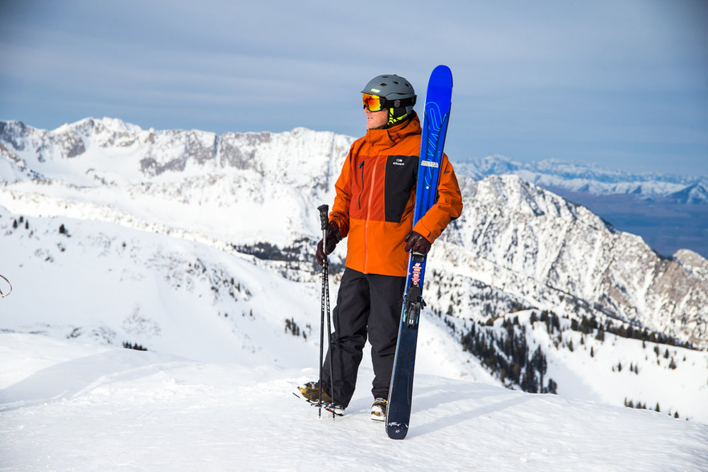 Even without new snow, early ups on the Snowbird tram has its perks: not another skier in sight. - © Liam Doran