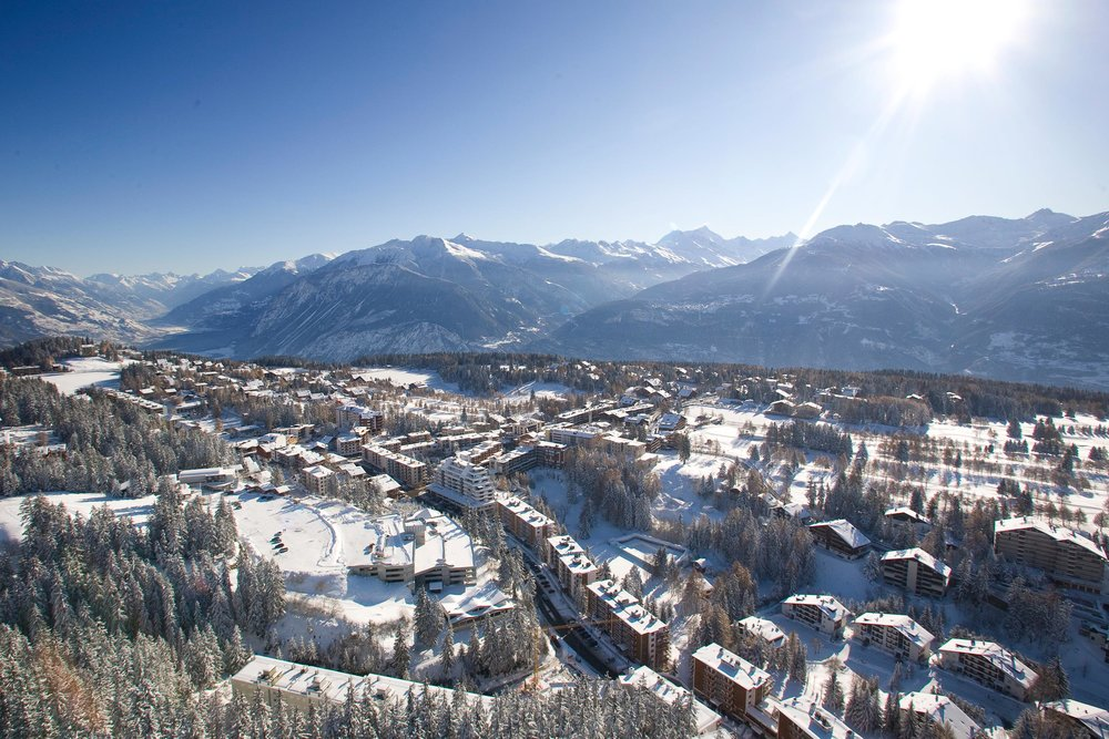 Aerial view of Crans Montana, SUI.