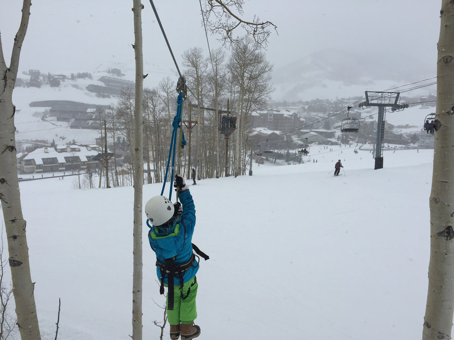 Crested Butte's two-hour zipline tour offers a ski day alternative. - © Krista Crabtree