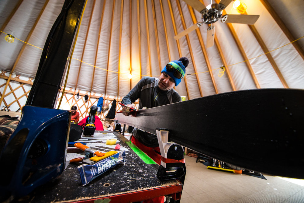 Ski manufacturers giving their gear love so it's in tiptop test condition. - © Liam Doran