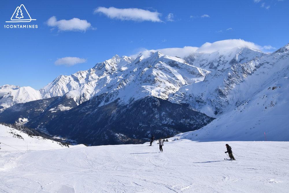 Ski détente, ski plaisir sur le domaine skiable des Contamines Montjoie - © Station de ski des Contamines Montjoie