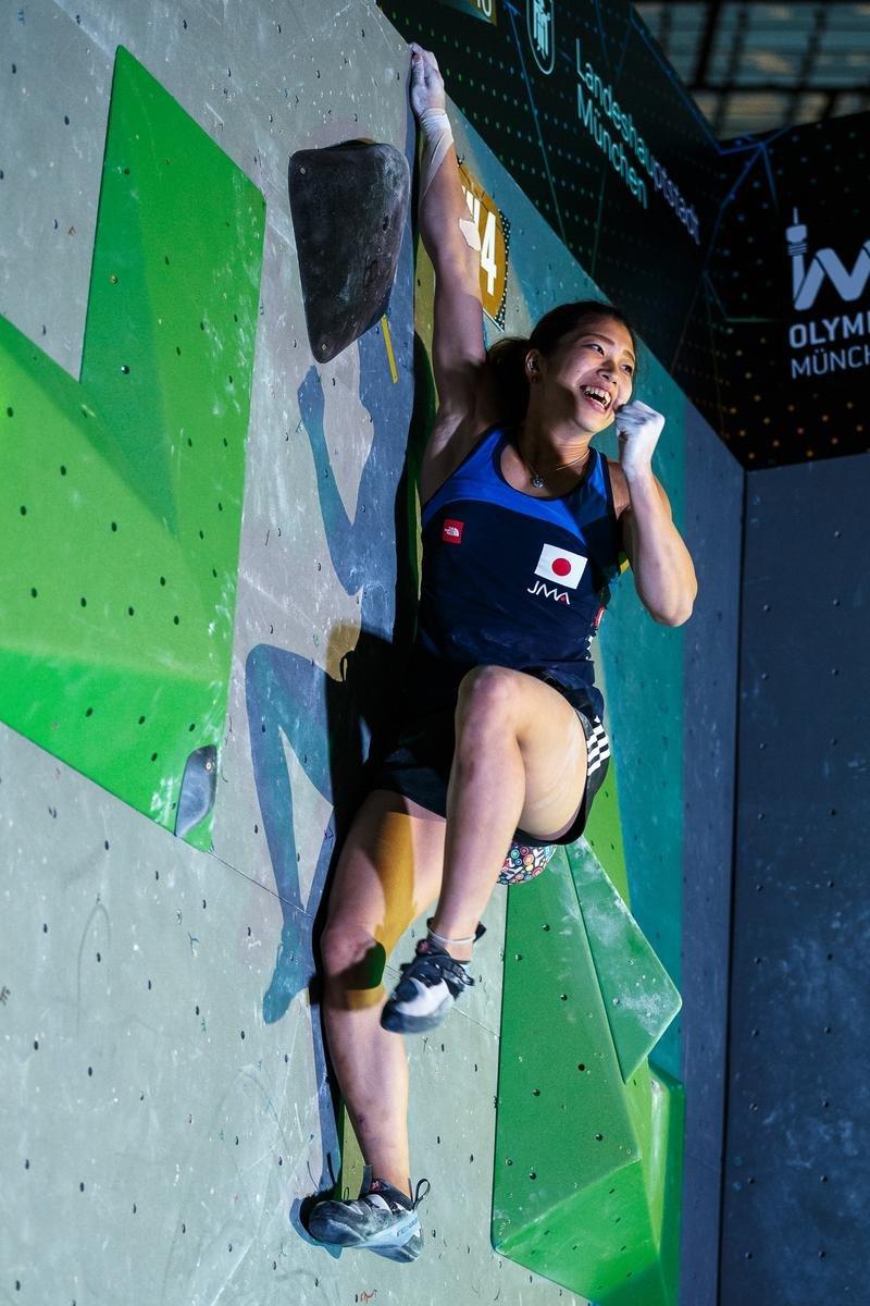Miho Nonaka holt sich im Münchener Weltcup-Finale 2016 den Tagessieg - © DAV / Marco Kost