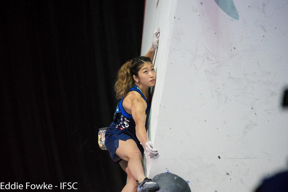 Miho Nonaka boulderte bei der WM zu Silber - ©IFSC / Eddie Fowke