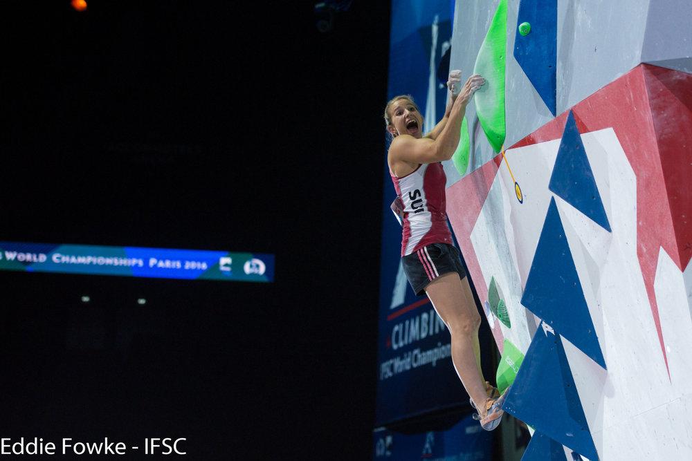 Auf den Punkt topfit: Petra Klingler (SUI) holte bei der WM überraschend Gold - © IFSC / Eddie Fowke