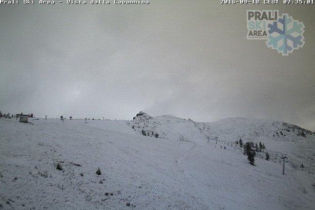 Prali, neve fresca di settembre (18.09.16) - © Webcam Prali