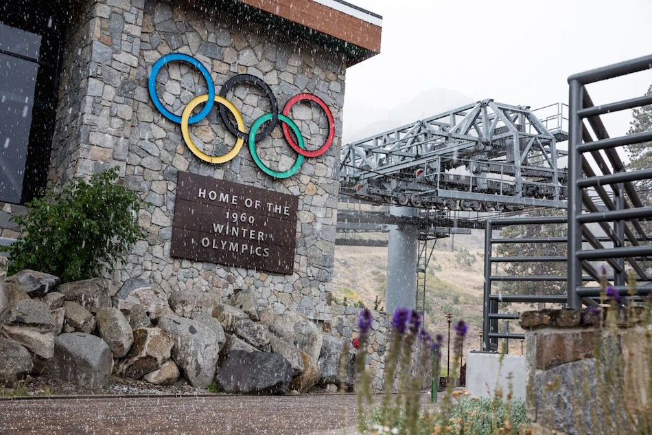 Squaw Valley Alpine Meadows getting a first dusting on the Olympic rings. - © Squaw Valley Alpine Meadows