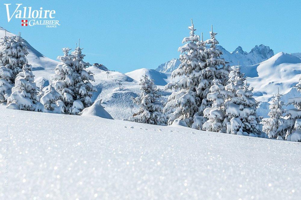Paysage hivernal sur le domaine skiable de Valloire - © Office de Tourisme de Valloire