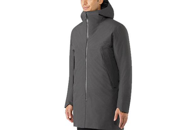 Arc'teryx Veilance Monitor Down Coat: $1,600 From Arc'teryx's design-forward Veilance collection comes this men's thigh-length coat with clean lines yet plenty of storage. Made with GORE-TEX® 3L Pro and 850 fill European grey goose down, the Monitor Down is the warmest coat in the lineup.
