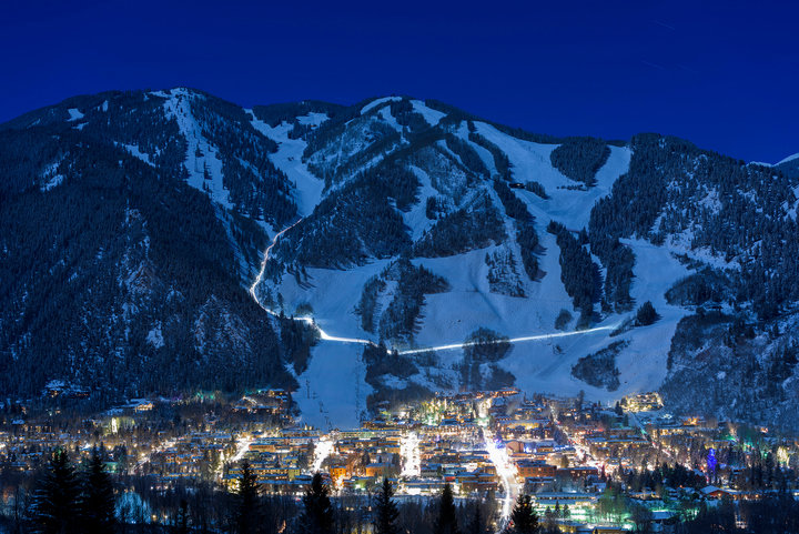 Aspen Snowmass shines just as bright when the sun goes down. - © Daniel Bayer