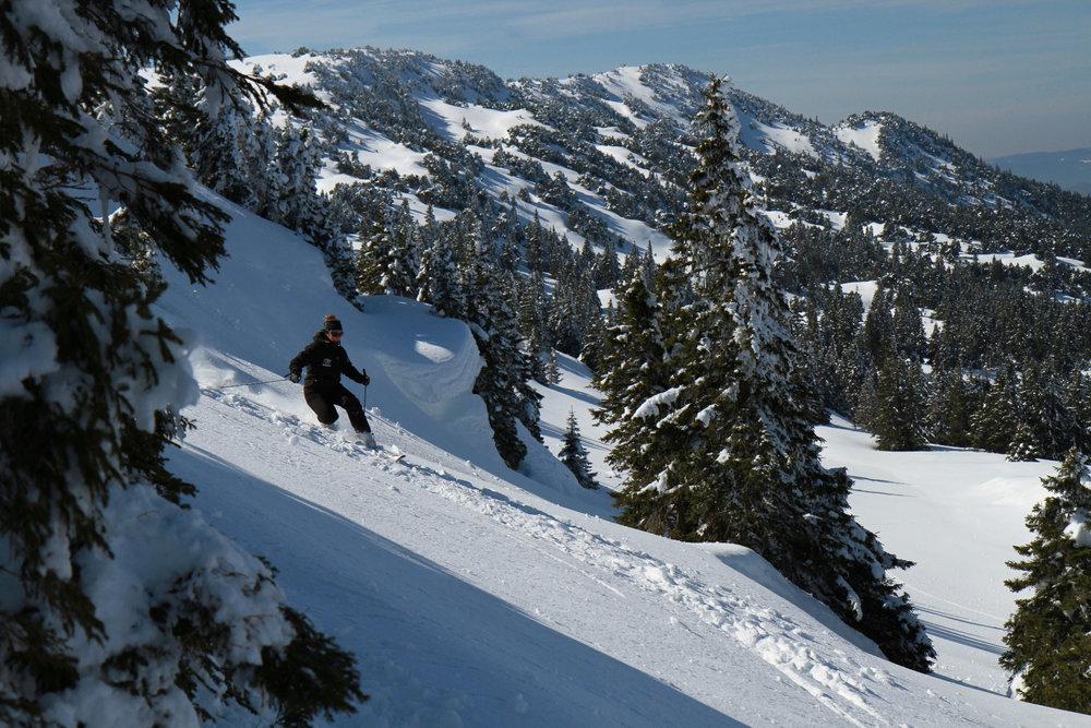 Ski hors piste sur les pentes enneigées  de Lélex (station de Monts Jura) dans les Montagnes du Jura - © CRT Franche Comté