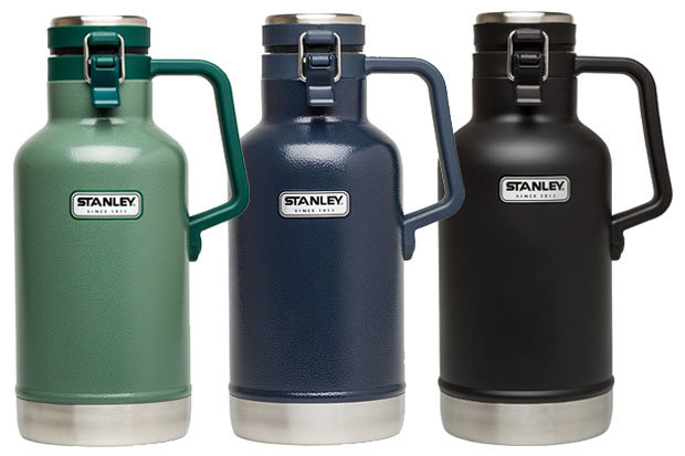 Stanley Classic Vacuum Growler 64oz: $50 Harness the power of vacuum-sealed beer! And while you're at, do so with the classic, rugged looks of Stanley. A large handle makes carrying your prized possession from one après party to the next simple and convenient. Standout features include 18/8 stainless steel and a foam insulated lid.
