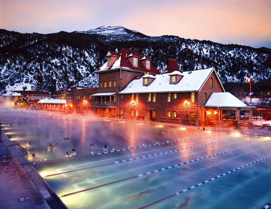 The pool at Sunlight Mountain Resort CO at night