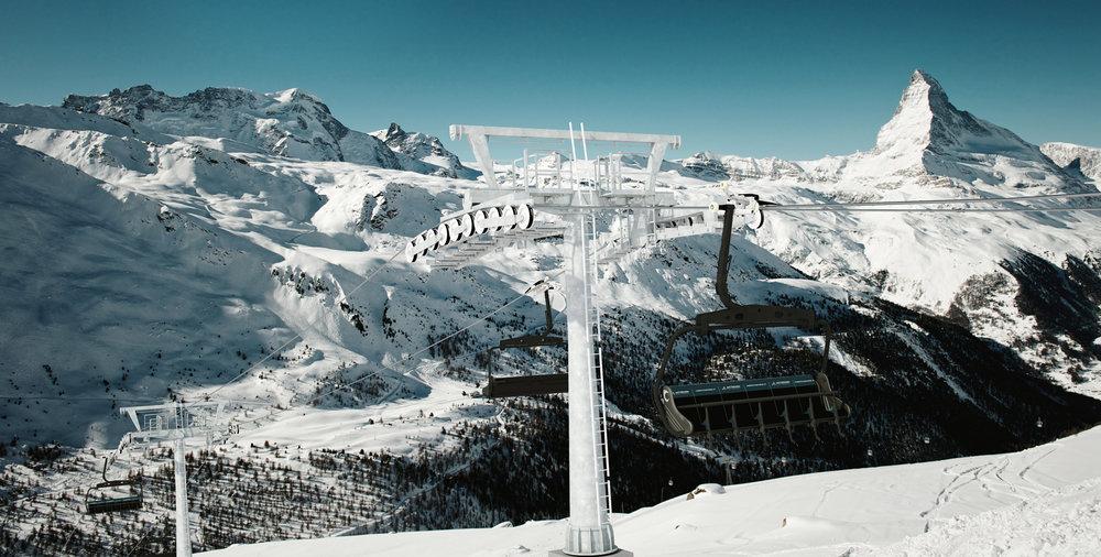 Od zimy 2016/17 bude lyžiarov prepravovať z Gantu (2223 m) až na Glauherd (2571 m) nová najmodernejšia sedačková lanovka - © Zermatt Bergbahnen AG