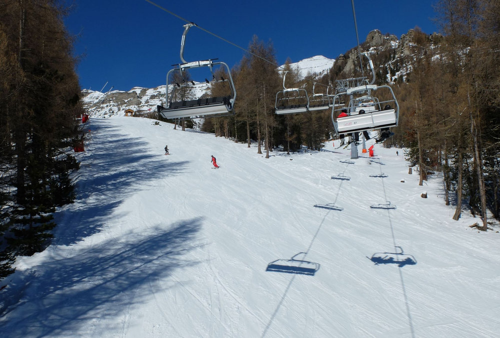 Le départ du stade de slalom de Chaillol, sous le télésiège de Clos Chenu - © OT St Michel de Chaillol