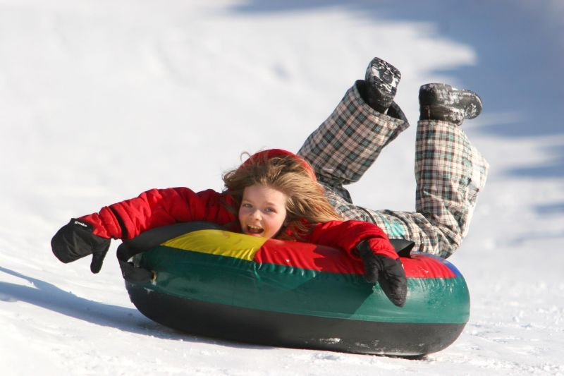 A child tubing in Magic Mountain, Vermont