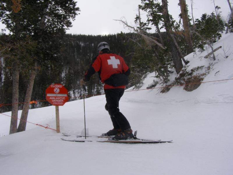 Patroller inspecting off-limits area at Las Vegas Ski & Snowboard Resort.