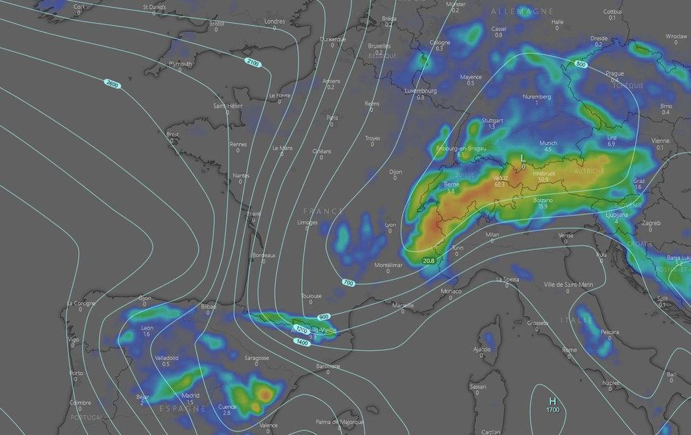 La neige signe son grand retour sur les massifs de l'est. De forts cumuls sont attendus dans les prochaines heures ! - © Capture d'écran windy.com