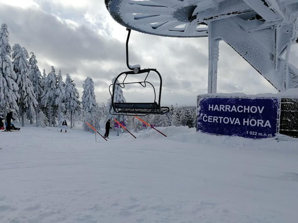 Sněhové podmínky v Harrachově jsou vynikající. Spousta přírodního sněhu a upravené sjezdovky! (14.1.2019) - © Skiareál Harrachov - facebook