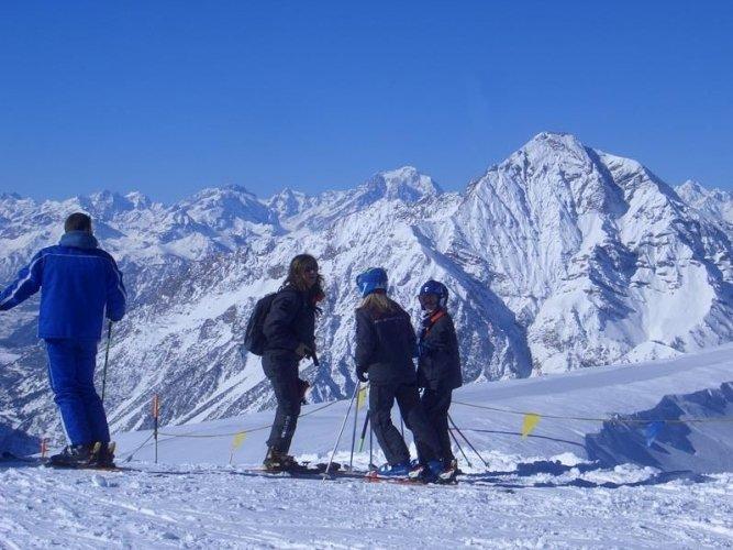 Skiers at Sansicario, Italy.