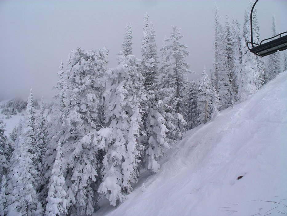 Snowcovered mountain and chairlift at Pebble Creek, Idaho
