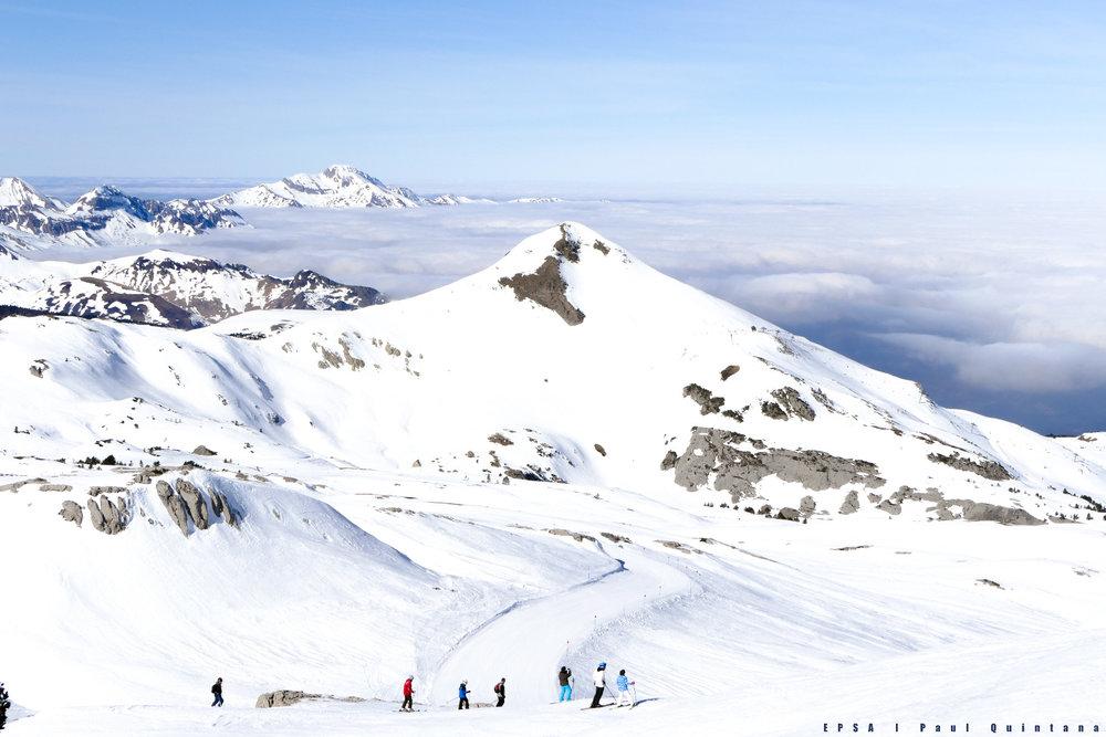 Le Boulevard des Pyrénées, LA piste de ski emplématique de la Pierre Saint Martin - © EPSA / Domaine de la Pierre Saint Martin
