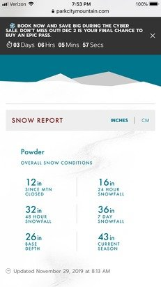 Park City - This app is useless.  Shows Park City has received trace of snow this week when they are reporting 3 feet this week. 16 inches last 24 hours.  - © Billy Golden