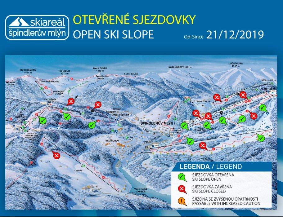 Otevřené sjezdovky ve Špindlerově Mlýně od soboty 21.12.2019