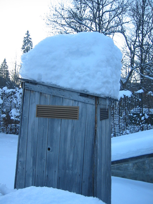 Snow piled high in Oberammergau, Germany