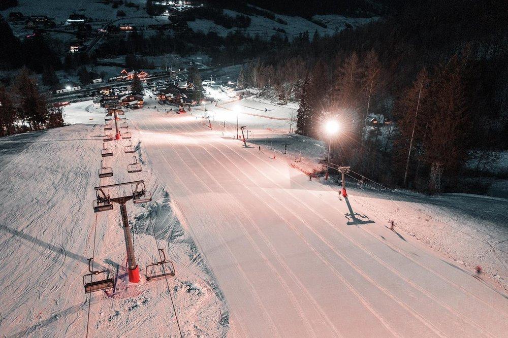 Night skiing in Vratna, Slovakia