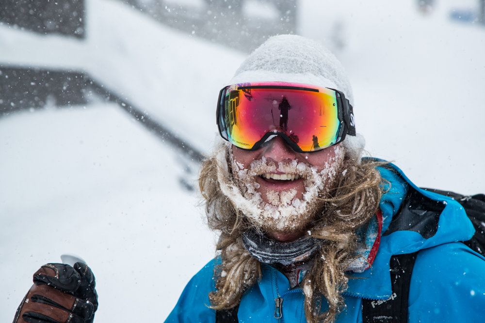 Dressed up like Old Man Winter for a powder day at Alta. - © Adam Clark