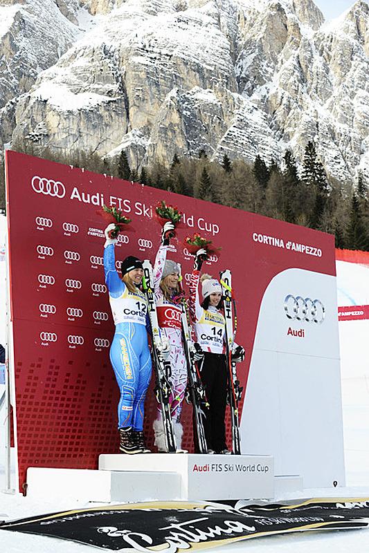 Die Siegerinnen des Super-G in Cortina - © Alain GROSCLAUDE/AGENCE ZOOM