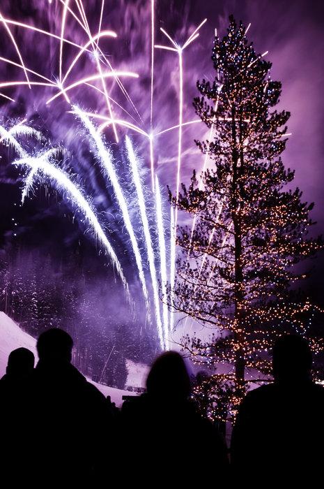 Weihnachtsbaum und Feuerwerk - Frohe Festtage!
