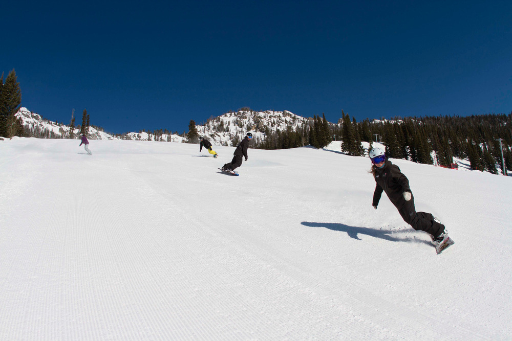 Snowboarder enjoy the groomers at Jackson Hole. Photo courtesy of Jackson Hole Mountain Resort.