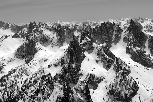 An aerial view of the Sawtooth Range captured from a fixed wing. A backcountry skiers paradise. Photo by Will Wissman.