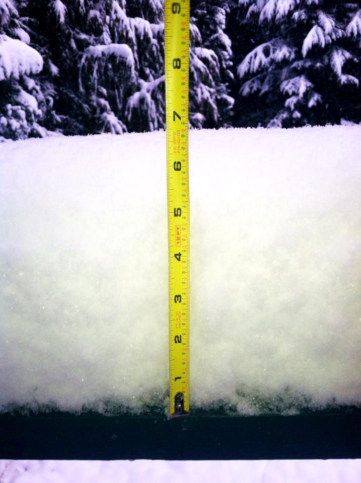 Measuring the snow at Crystal Mountain. Photo:Crystal Mountain/Facebook