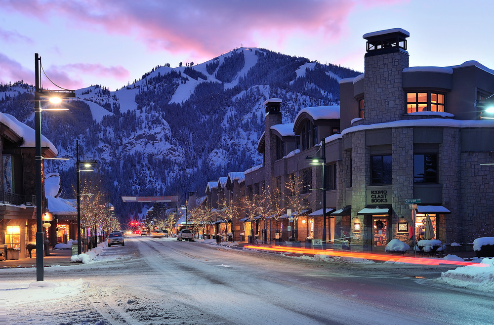 Ketchum lights up in winter below the runs of Sun Valley Resort. Photo courtesy of Visit Sun Valley.