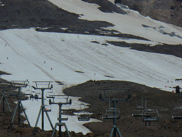 By late summer, skiing is only on the Palmer Snowfield at Timberline Lodge. Photo by Chris Pez/Flickr. - © Chris Pez/Flickr