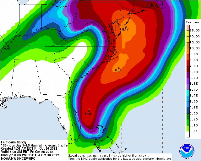 """The potential impact zone of the """"Frankenstorm.""""  - © NOAA"""