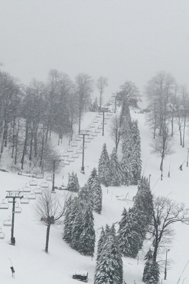 Snowfall at Seven Springs Resort in PA. Photo Courtesy of Seven Springs Resort/Facebook