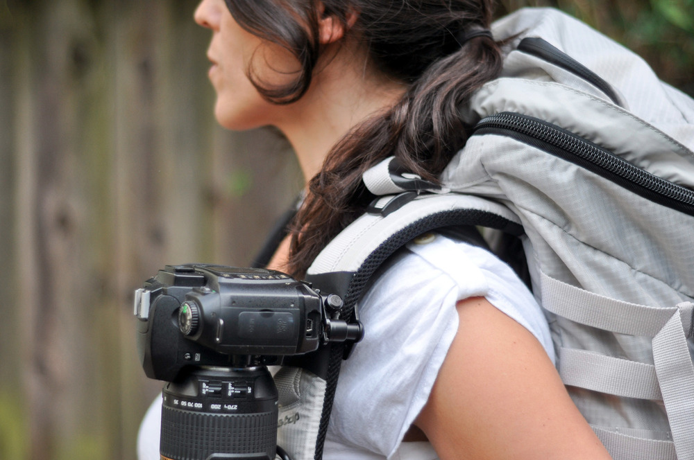 The capture camera clip system works great on backpack straps and provides easy access to your camera. - © Capture Camera Clip