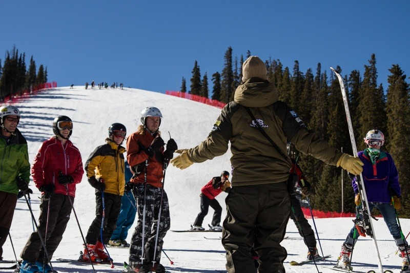 Skiers learning how to ski the course. - © Liam Doran