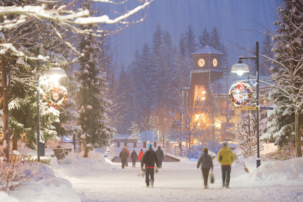 Whistler Village on a snowy evening.   - © Mike Crane/Tourism Whistler